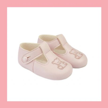 Girls Pink/Pink Teddy Bear  Baypod Pram Shoes